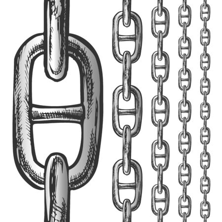 Chain And Links Seamless Pattern In Different Scale Ink Set Vector. Classic Heavy Metal Chain. Linked Rings Elements Engraving Concept Layout Hand Drawn In Vintage Style Black And White Illustrations