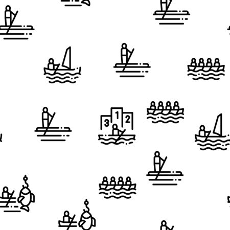 Canoeing Seamless Pattern Vector Thin Line. Contour Illustrations