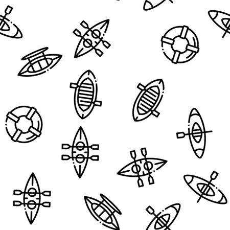 Canoeing Seamless Pattern Vector Thin Line. Contour Illustrations 写真素材 - 131982990