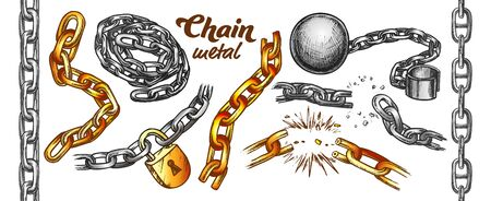 Iron Chain Color Set Vector. Assortment Of Heavy Metallic Chain. Steel Tool With Ball And Padlock Engraving Concept Template Hand Drawn In Vintage Style Color Illustrations