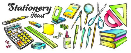 School And Office Stationery Items Color Set Vector. Stationery Knife And Pen, Calculator And Books, Ruler And Scissors, Eraser And Paper. Engraving Mockup Drawn In Retro Style Illustrations