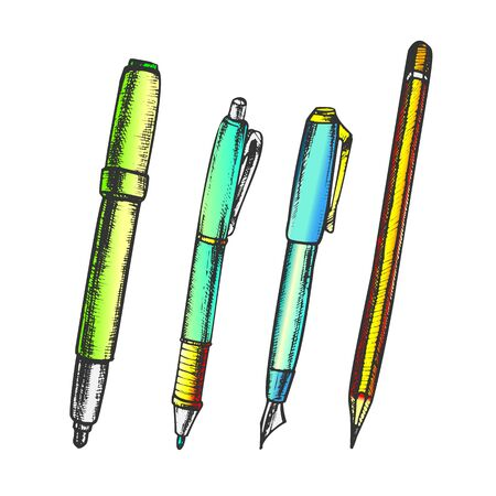 Pen, Pencil And Felt-tip Marker Retro Color Vector. Pen Collection For Writing And Drawing School Equipment. Engraving Concept Template Hand Drawn In Vintage Style Illustrations