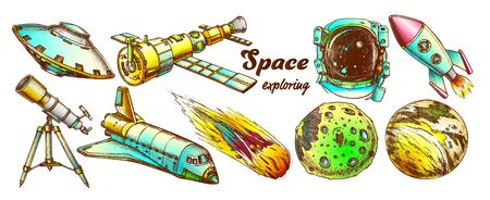 Space Exploring Elements Set Vector. Space Rocket And Shuttle, Satellite And Ufo, Asteroid And Exposure Suit, Planet And Telescope. Hand Drawn In Vintage Style Color Illustrations