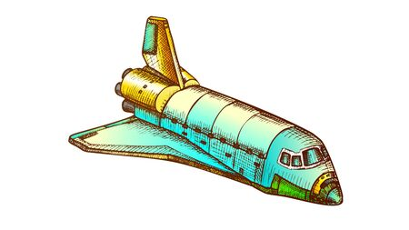 Space Exploring Ship Shuttle Color Vector. Astronautic Aeroballistic Transport Shuttle For Explore Cosmos. Booster Rocket Spaceship Hand Drawn In Vintage Style Illustration