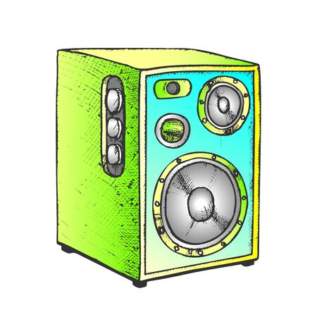 Loud Speaker For Listening Music Retro Vector. Audio Stereo Acoustic Speaker. Multimedia System Equipment Engraving Concept Template Hand Drawn In Vintage Style Color Illustration