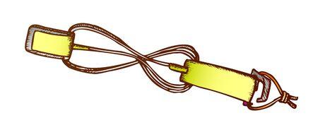 Surf Belt For Carry Surfboard Color Vector. Shoulder Strap Belt For Transportation Surf Board. Surfer Accessory Engraving Template Hand Drawn In Vintage Style Illustration