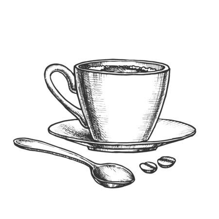 Coffee Cup On Saucer With Spoon Monochrome Vector. Energy Espresso In Mug And Coffee Grains. Morning Hot Drink Engraving Concept Template Hand Drawn In Vintage Style Black And White Illustration Ilustracja