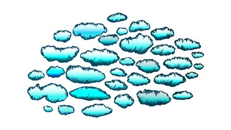 Fluffy Clouds Cumulus Flying On Sky Ink Vector. Decorative Clouds Atmosphere Element Of Cloudy Night. Climate And Meteorology Engraving Concept Layout Designed In Vintage Style Color Illustration