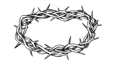Crown Of Thorns Jesus Christ Monochrome Vector. Passion Of Christ Authentic Crown. Easter Religious Symbol Engraving Concept Template Hand Drawn In Vintage Style Black And White Illustration Ilustração