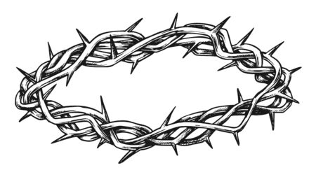 Crown Of Thorns Religious Symbol Hand Drawn Vector. Crucifixion Crown With Spikes. Christianity And Suffering Element Engraving Concept Layout In Retro Style Black And White Illustration Ilustração