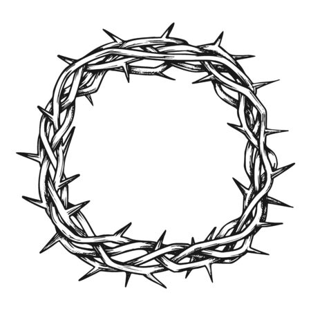 Crown Of Thorns Jesus Christ Top View Ink Vector. Christianity Religion Symbol Branches Of Thorns Woven. Engraving Concept Template Hand Drawn In Vintage Style Black And White Illustration