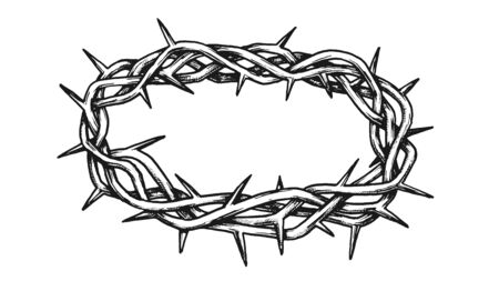 Crown Of Thorns Antique Tool For Pain Ink Vector. Crown With Spikes. Catholic Religious Barbed Symbol Engraving Concept Mockup Designed In Vintage Style Black And White Illustration