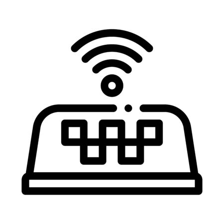 Presence of WiFi in Taxi Online Taxi Icon Vector Thin Line. Contour Illustration