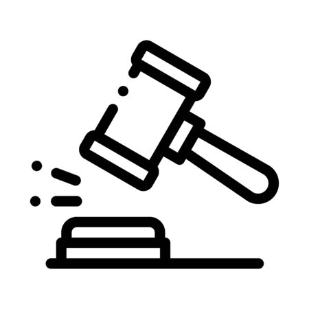 Court Gavel Law And Judgement Icon Vector Thin Line. Contour Illustration