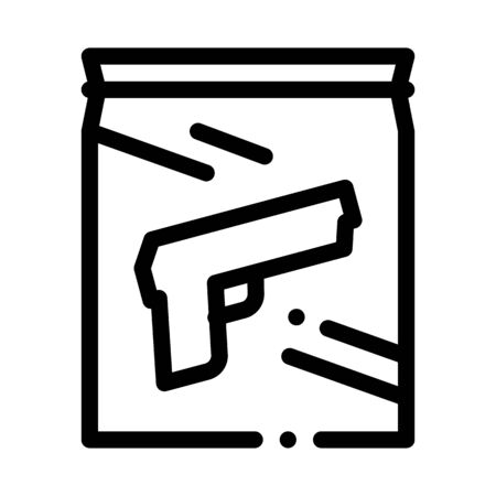 Evidence Gun Law And Judgement Icon Vector Thin Line. Contour Illustration