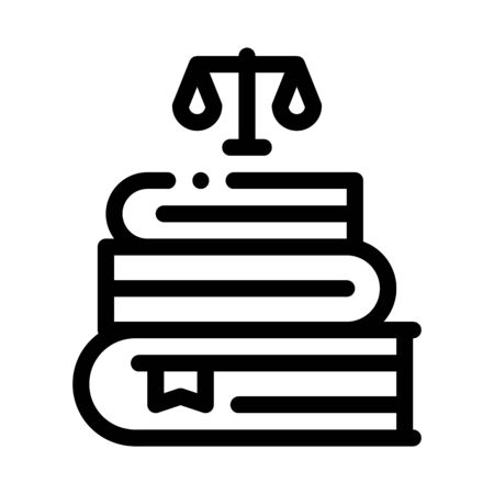 Justice Books Law And Judgement Icon Vector Thin Line. Contour Illustration