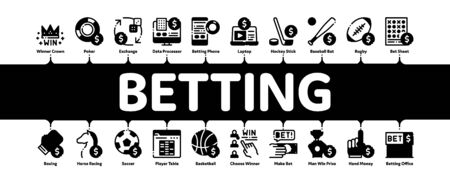 Betting And Gambling Minimal Infographic Web Banner Vector. Basketball And Baseball, Hockey And Boxing, Horse Racing And Card Game Betting Concept Linear Pictograms. Contour Illustrations