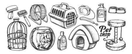 Pet Shop Equipment Assortment Monochrome Vector. Aquarium And Birdcage, Running Wheel And Food Bowl, Scratcher And Carrier. Engraving Template Hand Drawn In Vintage Style Black And White Illustration