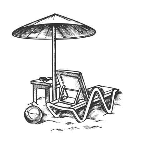 Beach Chair With Umbrella And Stool Retro Vector. Sun Glasses On Wooden Chair And Ball On Sand. Summer Vacation Engraving Concept Template Hand Drawn In Vintage Style Black And White Illustration Illusztráció