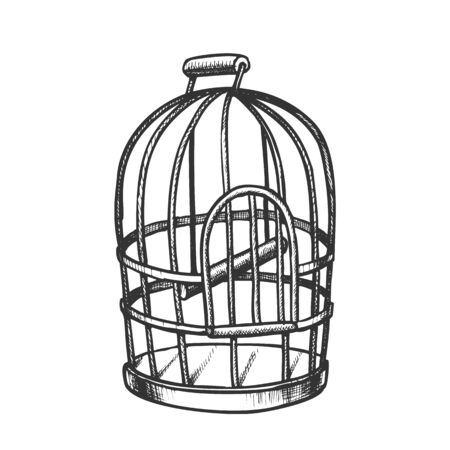 Birdcage For Domestic Parrot Monochrome Vector. Metallic Birdcage For Canary. Pet Shop Accessory Metal Bird Cell Engraving Template Hand Drawn In Vintage Style Black And White Illustration Illusztráció