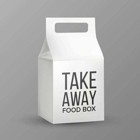 Box With Handle For Transportation Food Vector. Closed Cardboard Lunch Box For Shipping And Storage Products Or Nutrition. Elegant Carrying Container Layout Realistic 3d Illustration