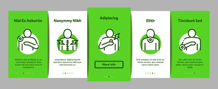 Body Ache Onboarding Mobile App Page Screen Vector Thin Line. Headache And Toothache, Backache And Arthritis, Stomach And Muscle Ache, Eye And Foot Pain Linear Pictograms. Contour Illustrations Standard-Bild - 133445763