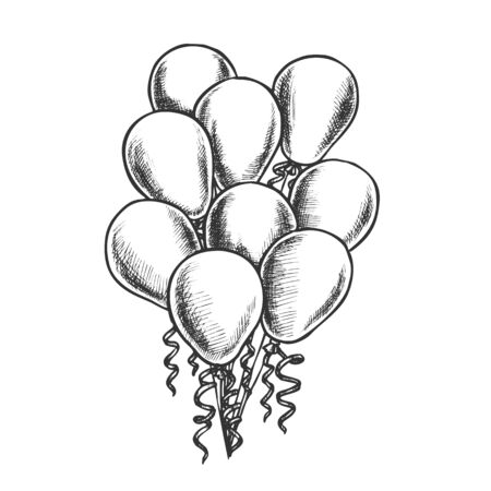 Balloons Heap Decorated Curly Ribbon Retro Vector. Helium Balloons Beautiful Decorative Detail For Card On Woman Day. Engraving Concept Layout Designed In Vintage Style Monochrome Illustration