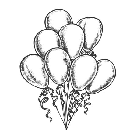 Balloons Bunch Decorated Curly Ribbon Retro Vector. Heap Of Helium Balloons Bright Decoration For Postcard On Mother Day. Engraving Concept Layout Designed In Vintage Style Monochrome Illustration Ilustracja