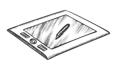 Tablette Avec Stylet Gadget Numérique Rétro Vecteur. Tablette Graphique Moderne Et Stylo De Dessin Pour Retoucher Des Images. Modèle de concept de gravure de périphérique dessiné à la main dans un style vintage Illustration noir et blanc