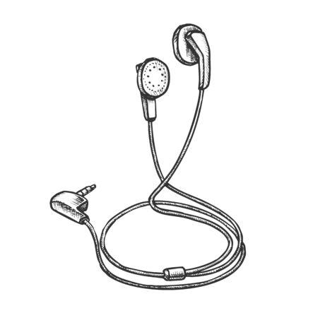 Écouteurs stéréo numérique Gadget vecteur monochrome. Écouteur audio moderne. Accessoire de musique portable modèle de concept de gravure d'écouteurs dessinés à la main dans un style vintage Illustration noir et blanc Vecteurs