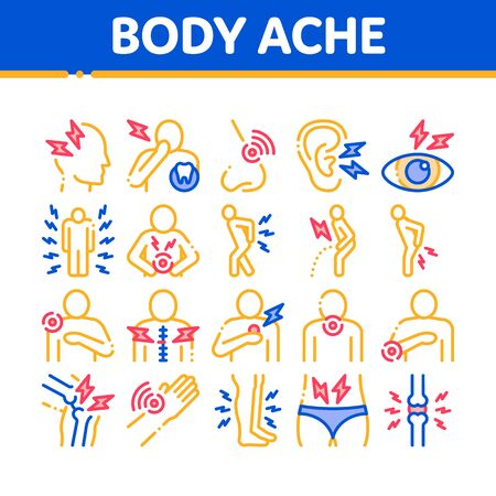 Body Ache Collection Elements Icons Set Vector Thin Line. Headache And Toothache, Backache And Arthritis, Stomach And Muscle Ache, Eye And Foot Pain Linear Pictograms. Color Contour Illustrations Standard-Bild - 133445996