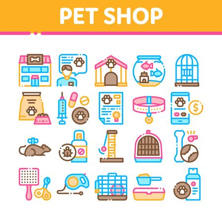 Pet Shop Collection Elements Icons Set Vector Thin Line. Shop Building And Aquarium, Bowl And Collar, Gaming Accessory And Medicaments Concept Linear Pictograms. Color Contour Illustrations