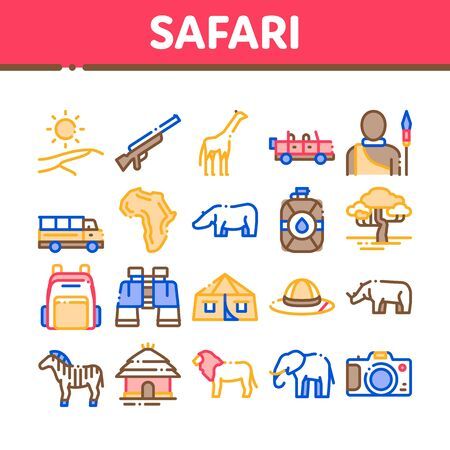 Safari Travel Collection Elements Icons Set Vector Thin Line. Animal And Africa, Car And Tree, Human Silhouette And Hat Safari Adventure Concept Linear Pictograms. Color Contour Illustrations 일러스트