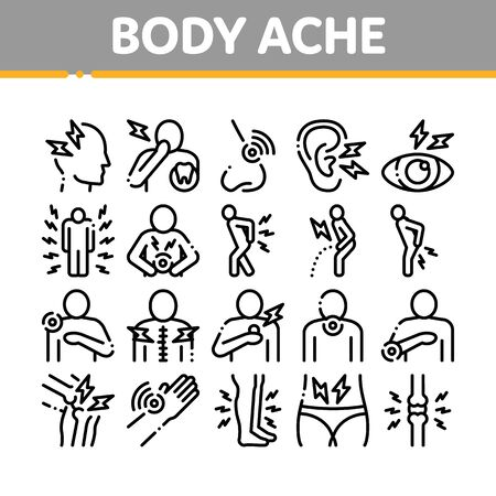 Body Ache Collection Elements Icons Set Vector Thin Line. Headache And Toothache, Backache And Arthritis, Stomach And Muscle Ache, Eye And Foot Pain Linear Pictograms. Monochrome Contour Illustrations Standard-Bild - 133446040