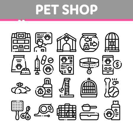 Pet Shop Collection Elements Icons Set Vector Thin Line. Shop Building And Aquarium, Bowl And Collar, Gaming Accessory And Medicaments Concept Linear Pictograms. Monochrome Contour Illustrations