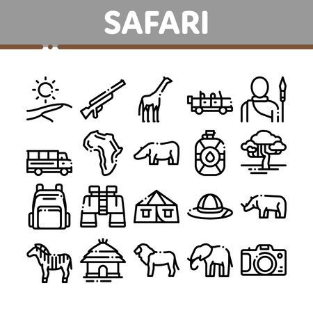 Safari Travel Collection Elements Icons Set Vector Thin Line. Animal And Africa, Car And Tree, Human Silhouette And Hat Safari Adventure Concept Linear Pictograms. Monochrome Contour Illustrations 일러스트