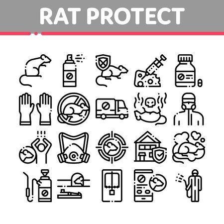 Rat Protect Collection Elements Icons Set Vector Thin Line. Rat Control Service, Human Silhouette And Protective Mask, Gloves And Spray Concept Linear Pictograms. Monochrome Contour Illustrations