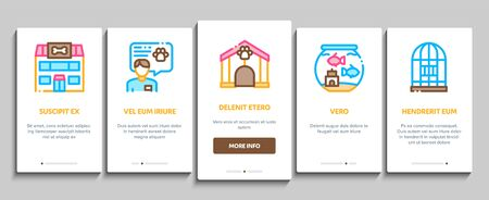 Pet Shop Onboarding Mobile App Page Screen Vector Thin Line. Shop Building And Aquarium, Bowl And Collar, Gaming Accessory And Medicaments Concept Linear Pictograms. Contour Illustrations