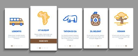 Safari Travel Onboarding Mobile App Page Screen Vector Thin Line. Animal And Africa, Car And Tree, Human Silhouette And Hat Safari Adventure Concept Linear Pictograms. Contour Illustrations