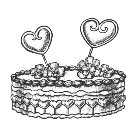 Cake Decorated Hearts And Creamy Flower Ink Vector. Festive Valentine Day Delicious Sweet Cake For Loving Couple Engraving Template Hand Drawn In Vintage Style Black And White Illustration