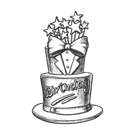 Birthday Cake Decorated In Suit Form Ink Vector. Birthday Festive Pie For Men Decorate With Bow Tie And Stars Engraving Template Hand Drawn In Vintage Style Black And White Illustration