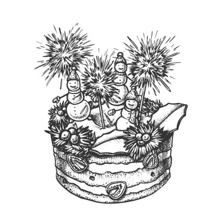 Christmas Cake Decorated With Snowmen Ink Vector. Christmas Pie Decorate Sparklers, Slice Strawberry And Berries Engraving Template Hand Drawn In Vintage Style Black And White Illustration