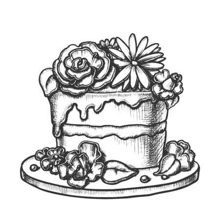 Birthday Cake Decorated With Flowers Ink Vector. Birthday Festive Pie Decorate Cream Bouquet For Woman Anniversary Engraving Template Hand Drawn In Vintage Style Black And White Illustration