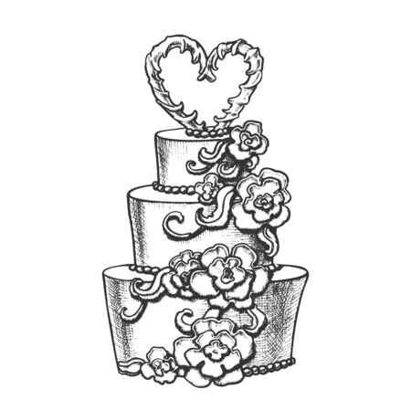 Cake Decorated Flowers And Heart On Top Ink Vector. Festive Wedding And Married Day Delicious Cake For Bride And Groom Engraving Template Hand Drawn In Vintage Style Black And White Illustration Foto de archivo - 133744654