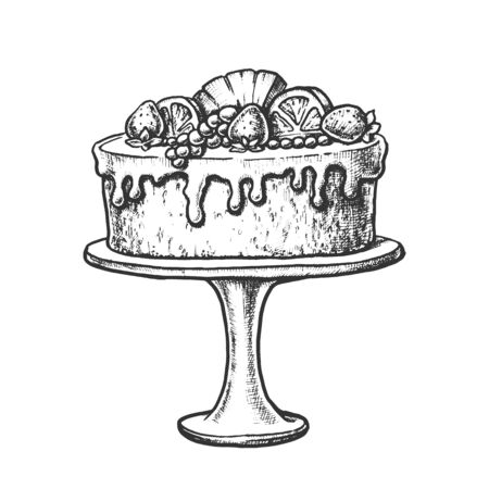 Delicious Cake Decorated With Fruits Ink Vector. Cake Pie With Orange, Strawberry And Pineapple On Pedestal Plate Engraving Template Hand Drawn In Vintage Style Black And White Illustration