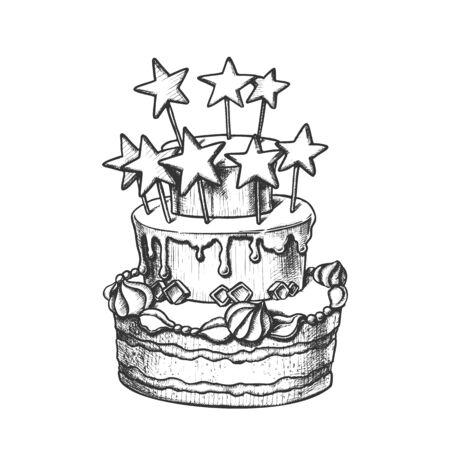 Birthday Cake Decorated With Stars Retro Vector. Birthday Celebration Pie With Ornamental Buttercream Engraving Concept Template Hand Drawn In Vintage Style Black And White Illustration