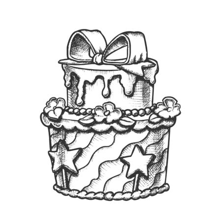 Birthday Cake Decorated With Bow Retro Vector. Girl Birthday Celebration Sweet Pie Ornamented Creamy Flowers And Stars Engraving Template Hand Drawn In Vintage Style Black And White Illustration