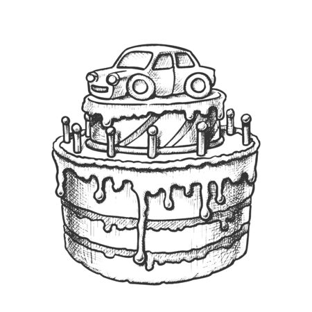 Birthday Cake Decorated With Car Retro Vector. Boy Birthday Celebrate Creamy Pie With Candles And Auto Toy Engraving Template Hand Drawn In Vintage Style Black And White Illustration