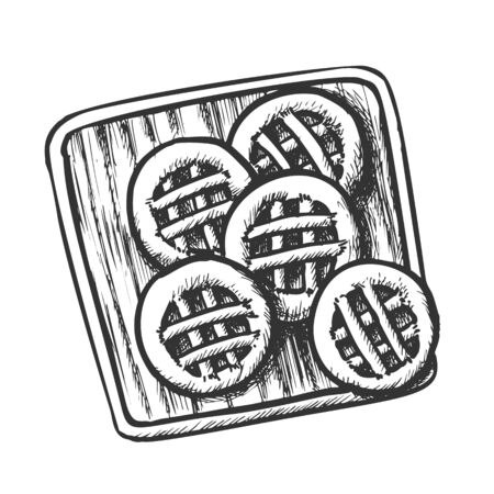 Cookies On Wooden Cutting Board Monochrome Vector. Sweet Cookies. Baking Healthy Morning Breakfast Engraving Concept Template Hand Drawn In Vintage Style Black And White Illustration