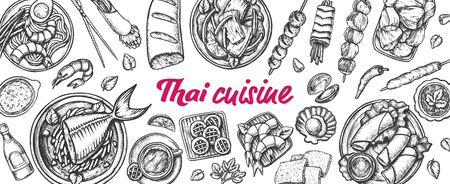 Traditional Thailand Cuisine Monochrome Set Vector. Soup With Fish And Shrimp, Spring Roll And Cookies Assortment Cuisine. Engraving Layout Designed In Vintage Style Black And White Illustrations 写真素材 - 134219353